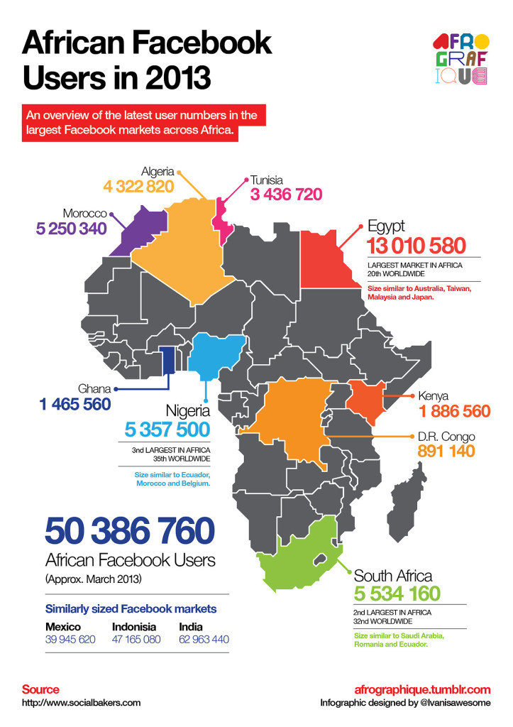 Facebook Users in Africa Infographic