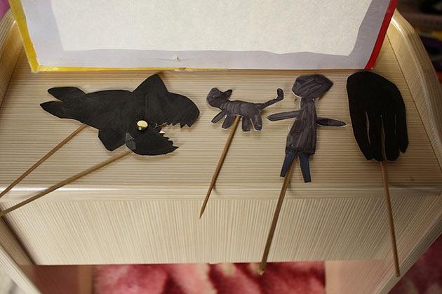 Cardboard shadow puppets